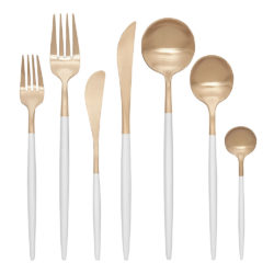Gaia White and Champagne Gold Cutlery